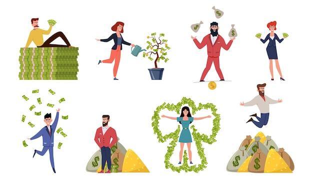 Illustrazione di uomini e donne ricchi