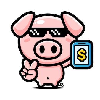 Disegno del personaggio mascotte maiale ricco