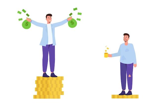 Uomo ricco e povero. concetto di ricchezza e povertà. illustrazione vettoriale in stile cartone animato.