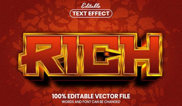 Testo ricco, effetto testo modificabile in stile carattere font