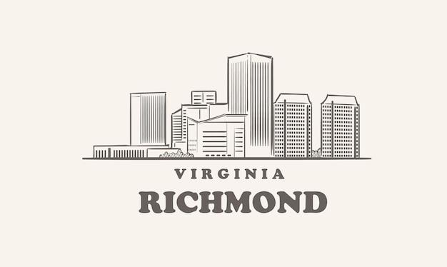 Orizzonte di richmond, grande città di schizzo disegnato in virginia