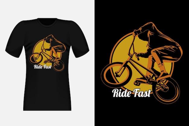 Ride fast bmx freestyle silhouette vintage t-shirt design illustration