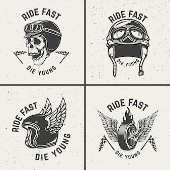 Ride veloce muori giovane. ruota disegnata a mano con le ali. elemento per poster, t-shirt, emblema. illustrazione
