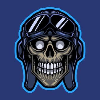 Logo della mascotte della testa del cranio del cavaliere