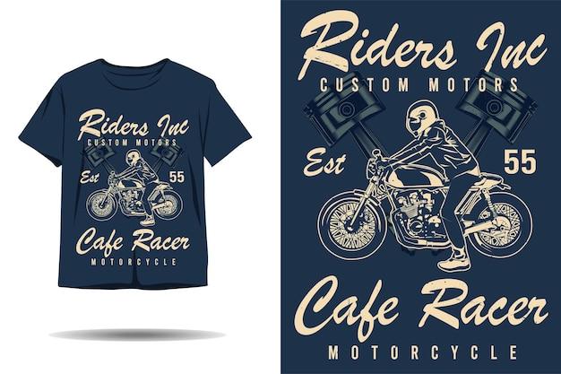 Piloti motori personalizzati cafe racer moto sagoma tshirt design