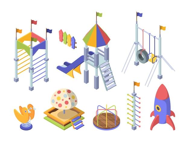 Cavalca l'insieme isometrico di colore del parco giochi