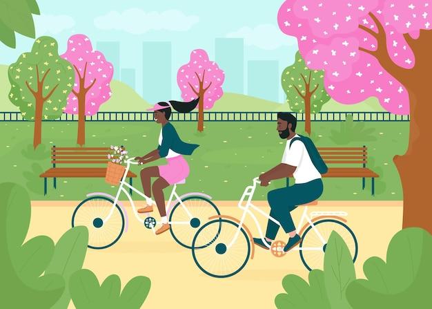 Andare in bicicletta nell'illustrazione di colore piatto del parco di primavera