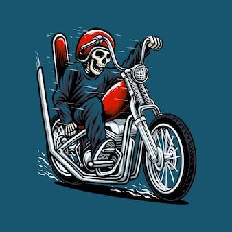 Illustrazione vettoriale di moto chopper in sella