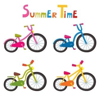 In sella a biciclette a colori isolati su sfondo bianco, biciclette dei cartoni animati per ragazzo o ragazza.