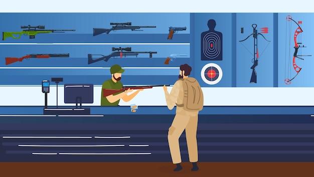 Riflerange, tiro a segno, uomo con fucile, pistole e illustrazione del fucile.