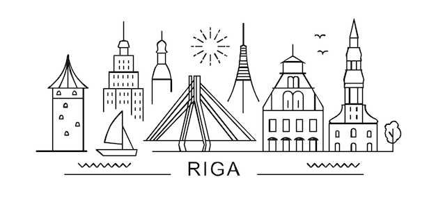 La città di riga in stile contorno su punti di riferimento bianchi firma con iscrizione