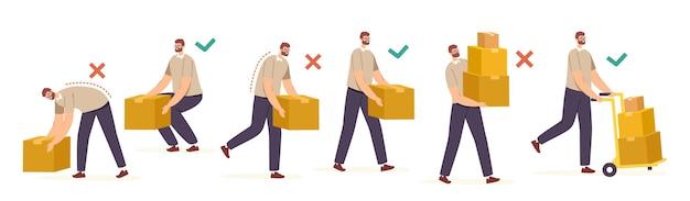 Movimentazione e sollevamento manuali giusti e sbagliati di merci pesanti. i personaggi maschili trasportano scatole di cartone in modo corretto e improprio nelle mani e sul carrello elevatore, salute della schiena. cartoon persone illustrazione vettoriale