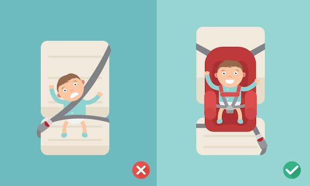 Modi giusti e sbagliati per usare il seggiolino auto per un bambino. illustrazione