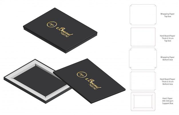 Mockup di modello 3d di imballaggio scatola rigida