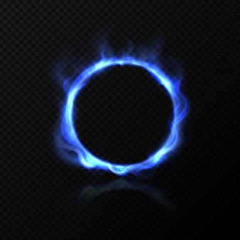 Anello di fuoco blu con effetto fiamma brillante Vettore Premium