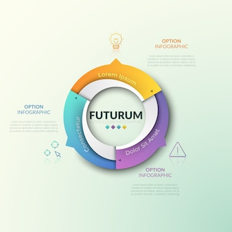 Diagramma ad anello diviso in 3 settori con frecce che puntano a icone di linee sottili e caselle di testo. modello di design futuristico infografica. tre caratteristiche del concetto di processo ciclico.