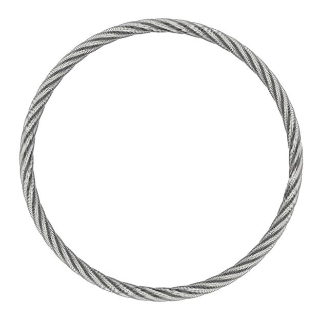 Fune d'acciaio senza fine dell'anello isolata su fondo bianco