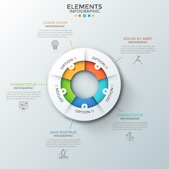 Diagramma ad anello diviso in 5 parti uguali, pittogrammi a linee sottili e caselle di testo. concetto di 5 fasi di processo ciclico. layout di progettazione infografica moderna. per sito web, report.
