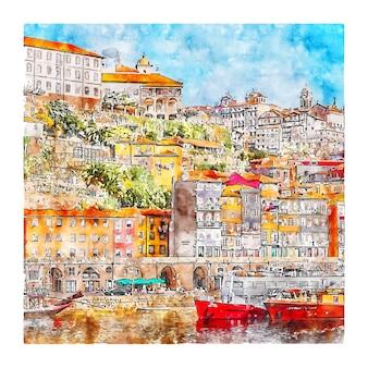 Illustrazione disegnata a mano di schizzo dell'acquerello di rio douro porto portogallo