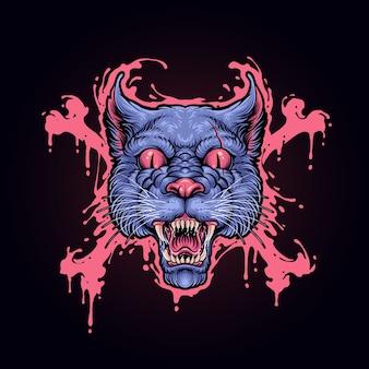Illustrazione di orrore di gatto testa antisommossa