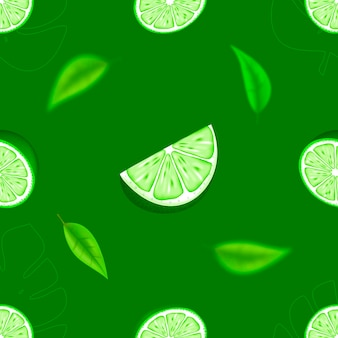 Pezzo sbucciato maturo succoso tropicale lime agrumi verde frutta di mezza fetta seamless pattern