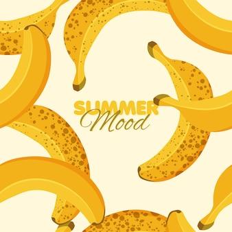 Modello senza cuciture di banana matura e troppo matura summer mood