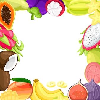 Insieme realistico delle fette e dei frutti tropicali maturi con le immagini dell'illustrazione della noce di cocco e del frutto della passione del pitaya del mango su fondo bianco.