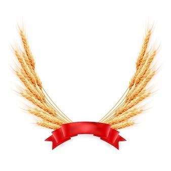 Orecchie di grano giallo maturo con nastro rosso, illustrazione agricola.