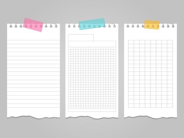Strappati i modelli di pagine di quaderno per appunti o appunti