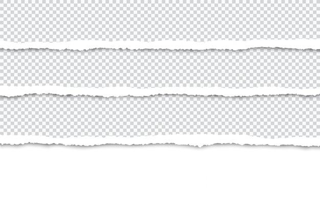 Strisce di carta strappate per testo o foto su bianco