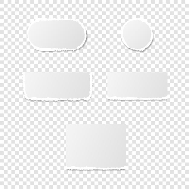 Pezzi strappati di pagina di carta, pagine sfilacciate formano un foglio bianco isolato. illustrazione vettoriale di rottami danneggiati strappati.