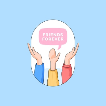 Alza la mano gruppo di migliori amici per sempre illustrazione per felice giorno dell'amicizia cartone animato doodle design