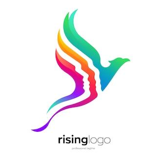 Design del logo fenice in ascesa
