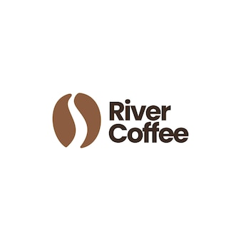 Modello di logo del chicco di caffè del fiume