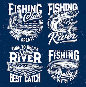 Modello di stampa t-shirt cattura pesca sul fiume con luccio che salta fuori dall'acqua
