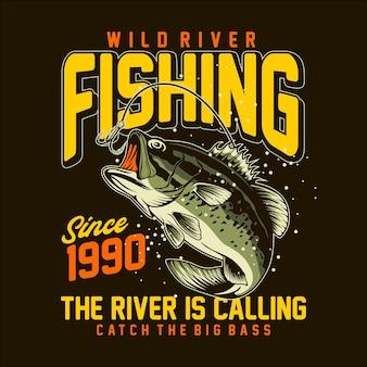 T-shirt da pesca sul fiume grafica
