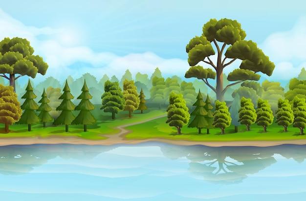 Fiume e foresta, paesaggio naturale, sfondo