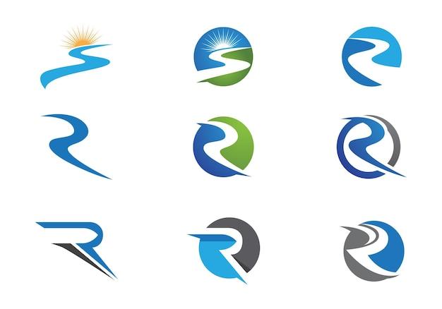 Icona di vettore del modello di logo del fiume