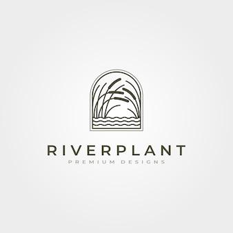 Logo della canna della pianta del fiume