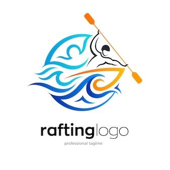 Modello di logo di rafting sul fiume