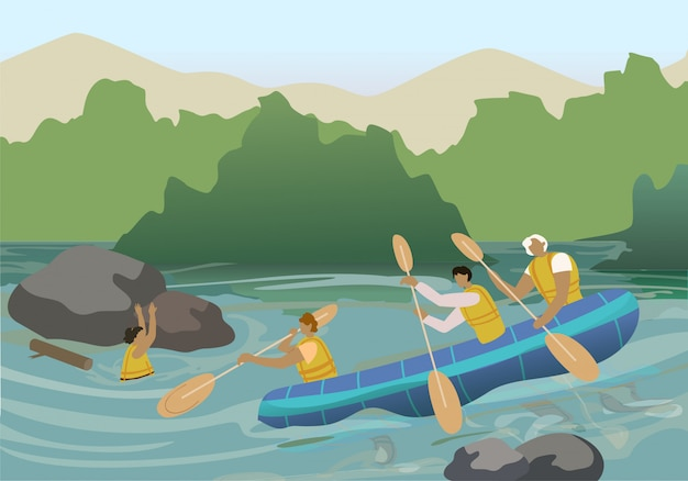 River rescuers team cartoon