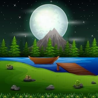 Scena del fiume nella notte di luna piena con barca e ponte
