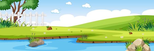 Scena del fiume nel parco con scena orizzontale del prato verde