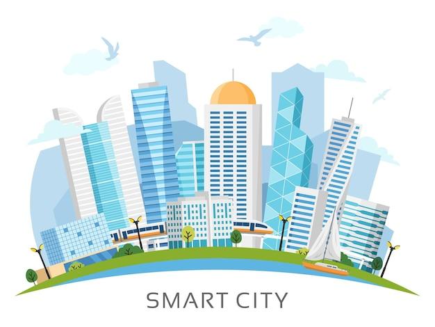 Paesaggio della città intelligente lato fiume organizzato ad arco con grattacieli, metropolitana, barca. illustrazione