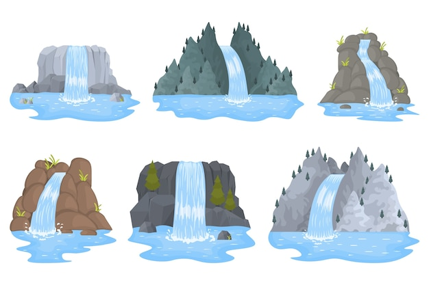 La cascata del fiume cade dalla scogliera. paesaggi, montagne e alberi.