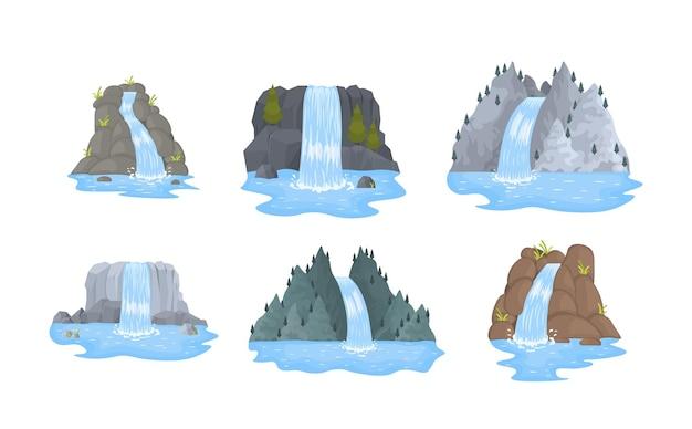 La cascata del fiume cade dalla scogliera.
