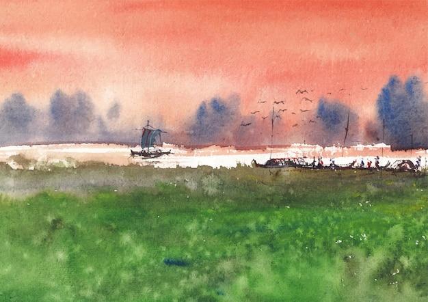 Pittura e design di paesaggi ad acquerello di paesaggio fluviale