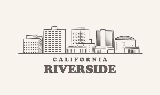Orizzonte di riverside, schizzo della california usa