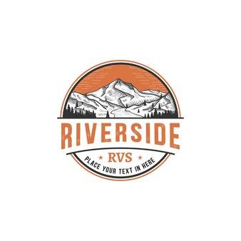 Riverside, incisione vintage retrò con logo di montagna e fiume tamplate