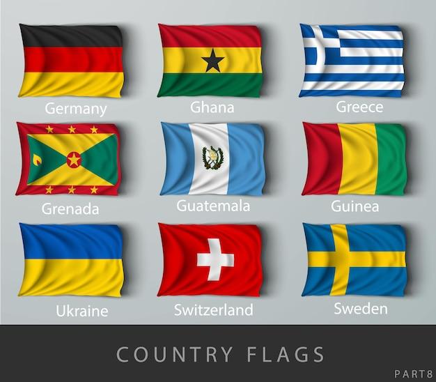 Ribattuta la bandiera del paese rugosa con le ombre